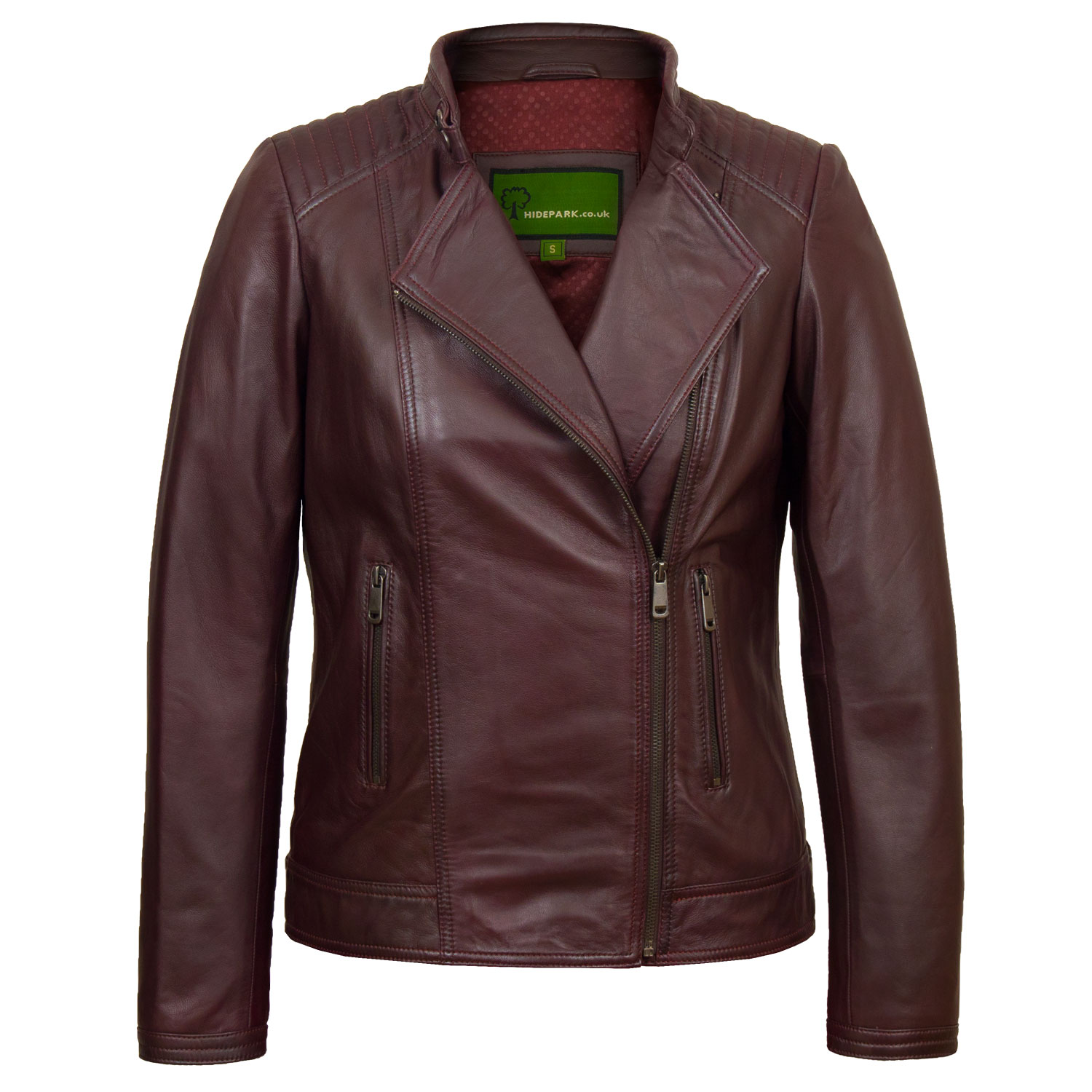 Ladies leather jacket burgundy Bonnie