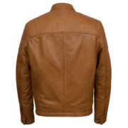 Mens Tan leather biker jacket Budd
