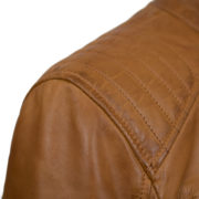 Mens Tan leather biker jacket shoulder detail Budd