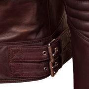 LAdies burgundy leather biker jacket buckle detail on the Wendy