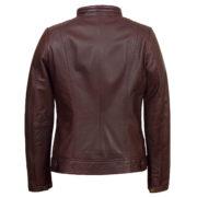 Ladies Bonnie Burgundy leather jacket back image