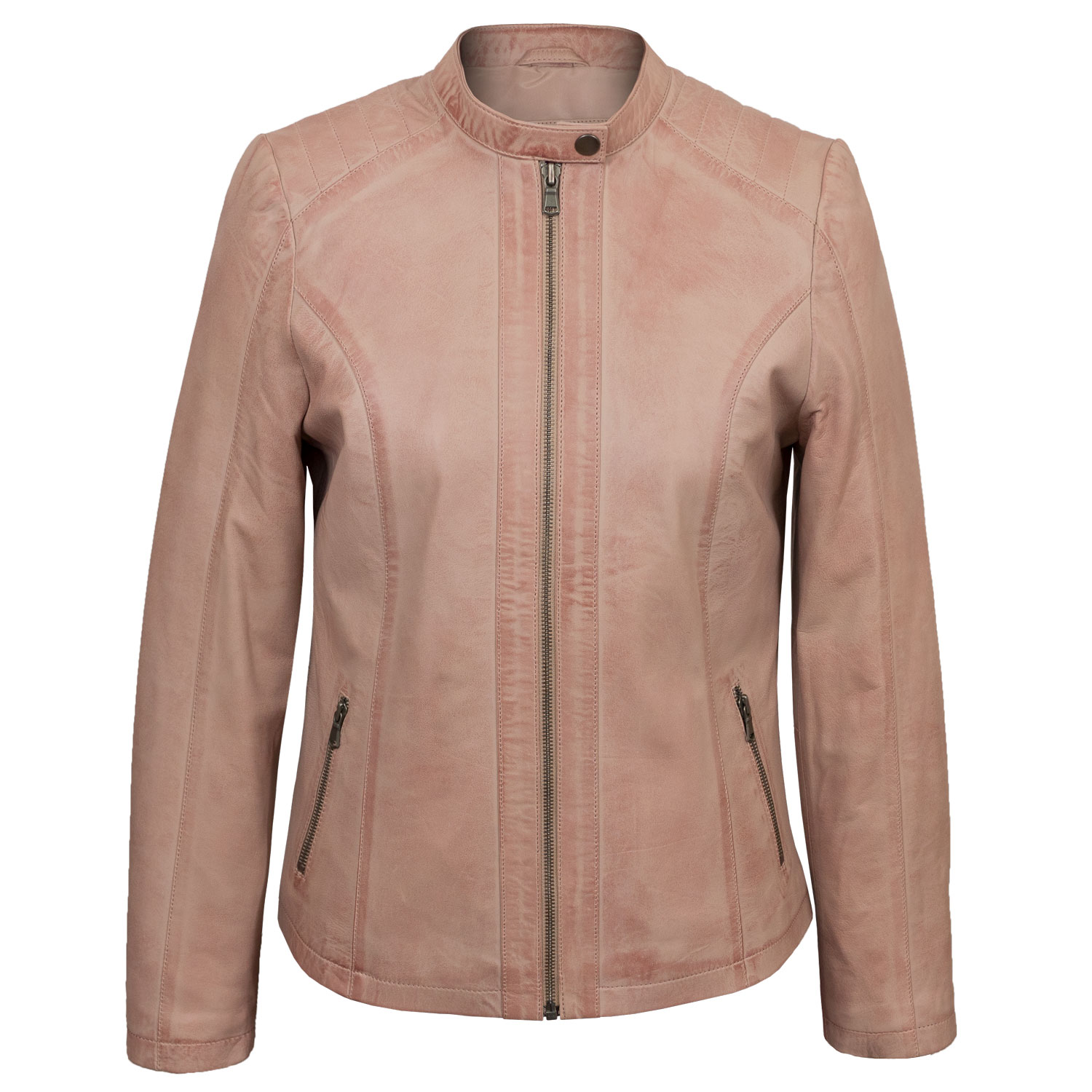 Ladies Pink leather jacket Trudy