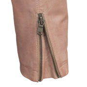 Ladies Pink leather jacket cuff detail Trudy