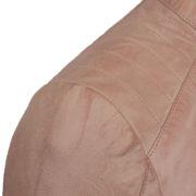 Ladies Pink leather jacket shoulder detail Trudy