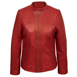 Ladies Red leather jacket Trudy
