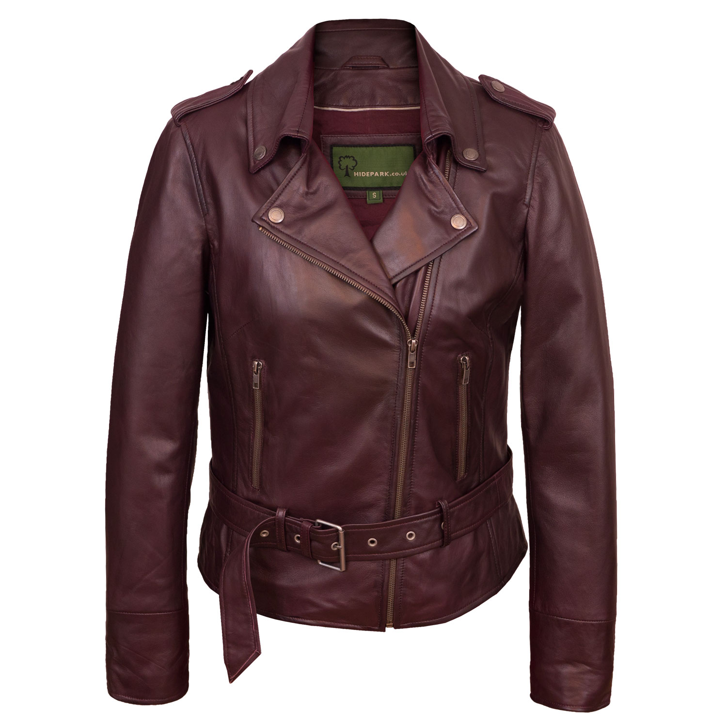 Ladies burgundy leather biker jacket Zoe