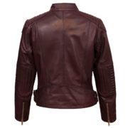 Ladies burgundy leather biker jacket back image Wendy