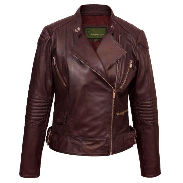 Ladies burgundy leather biker jacket front image of Wendy