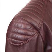Ladies burgundy leather biker jacket shoulder detail on the Wendy