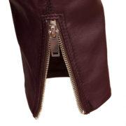 Ladies burgundy leather biker jacket zip cuff detail on Wendy
