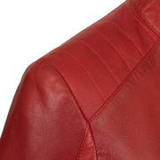 Ladies leather jacket Red shoulder detail Trudy