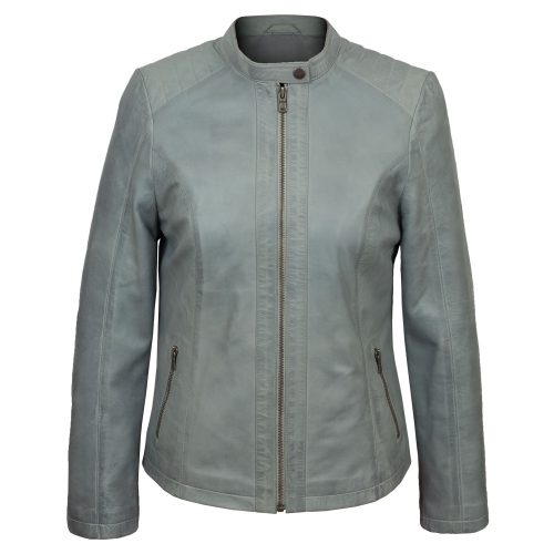 Ladies leather jacket light blue Trudy
