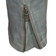 Ladies leather jacket light blue zip cuff detail Trudy