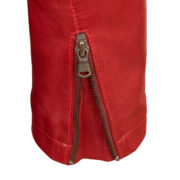 Ladies red leather jacket zip cuff detail Trudy