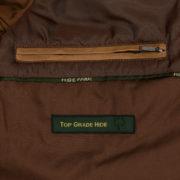 Mens Tan leather biker jacket inside pocket detail Budd