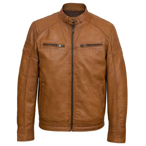 Mens Tan leather biker jacket budd