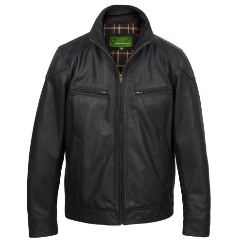 Mens leather jacket black Matt