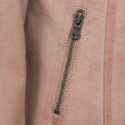 Ladies Pink leather jacket zip pocket detail Trudy