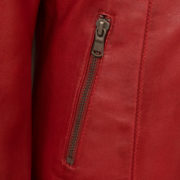 Ladies red leather jacket pocket detail Trudy