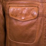 Mens Tan leather jacket pocket detail Jake
