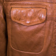 Mens Tan leather jacket pocket detail Jake