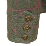 Womens green tweed jacket cuff detail Oban