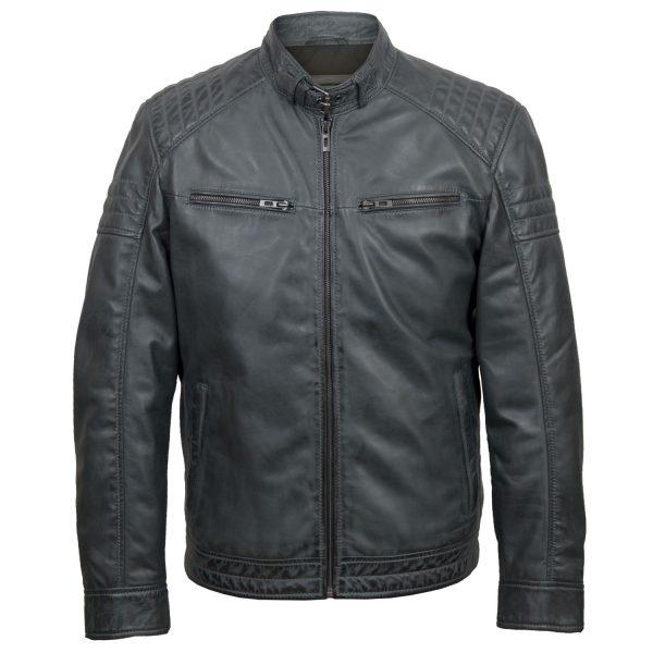 Mens grey leather jacket Budd