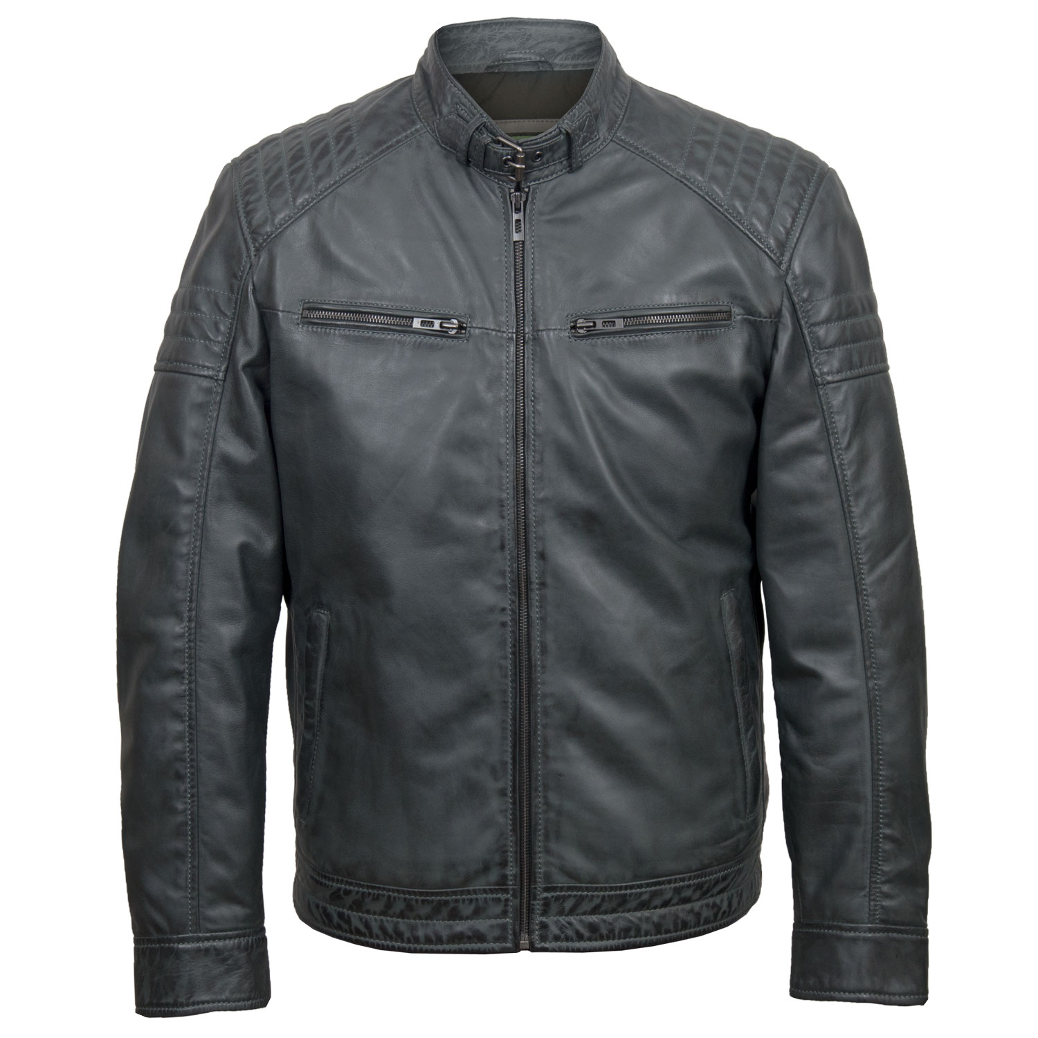 Mens grey leather jacket Budd