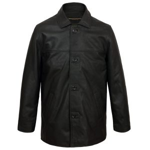 Men's Black Button leather jacket Barton fastened