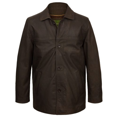 Men's Brown button leather jacket Barton