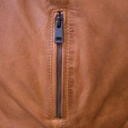 Mens tan leather jacket zip detail Jake