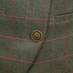 Womens green tweed jacket button detail Oban