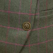 Womens green tweed jacket button detail Oban