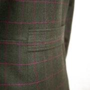 Womens green tweed jacket half belt detail Oban