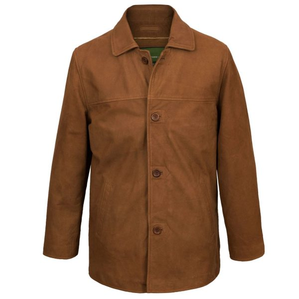Men's Tan Leather Coat Barton