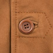 Mens Tan Leather Coat Barton Button Detail