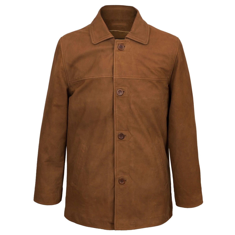 Mens Tan Leather Coat Barton Fastened