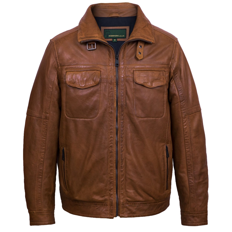 Men's Tan leather jacket Jake