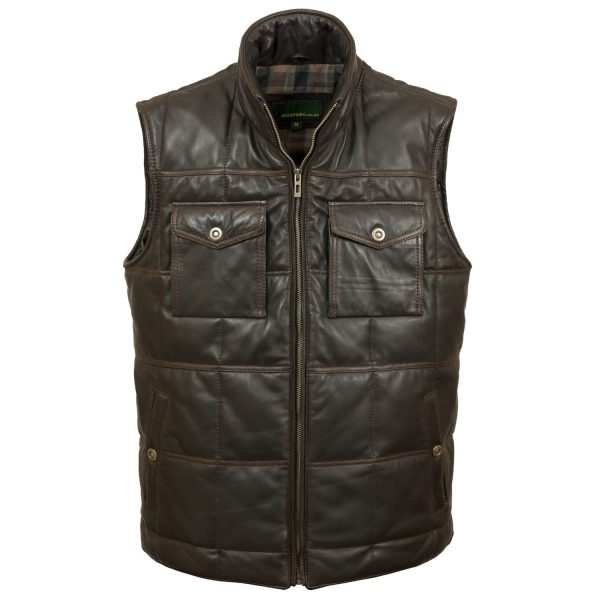 Men's Black Antique Leather Bodywarmer Monty