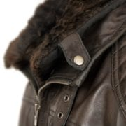 Mens Brown Leather Jacket open collar Danny