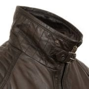 Mens Brown Leather jacket collar detail Danny