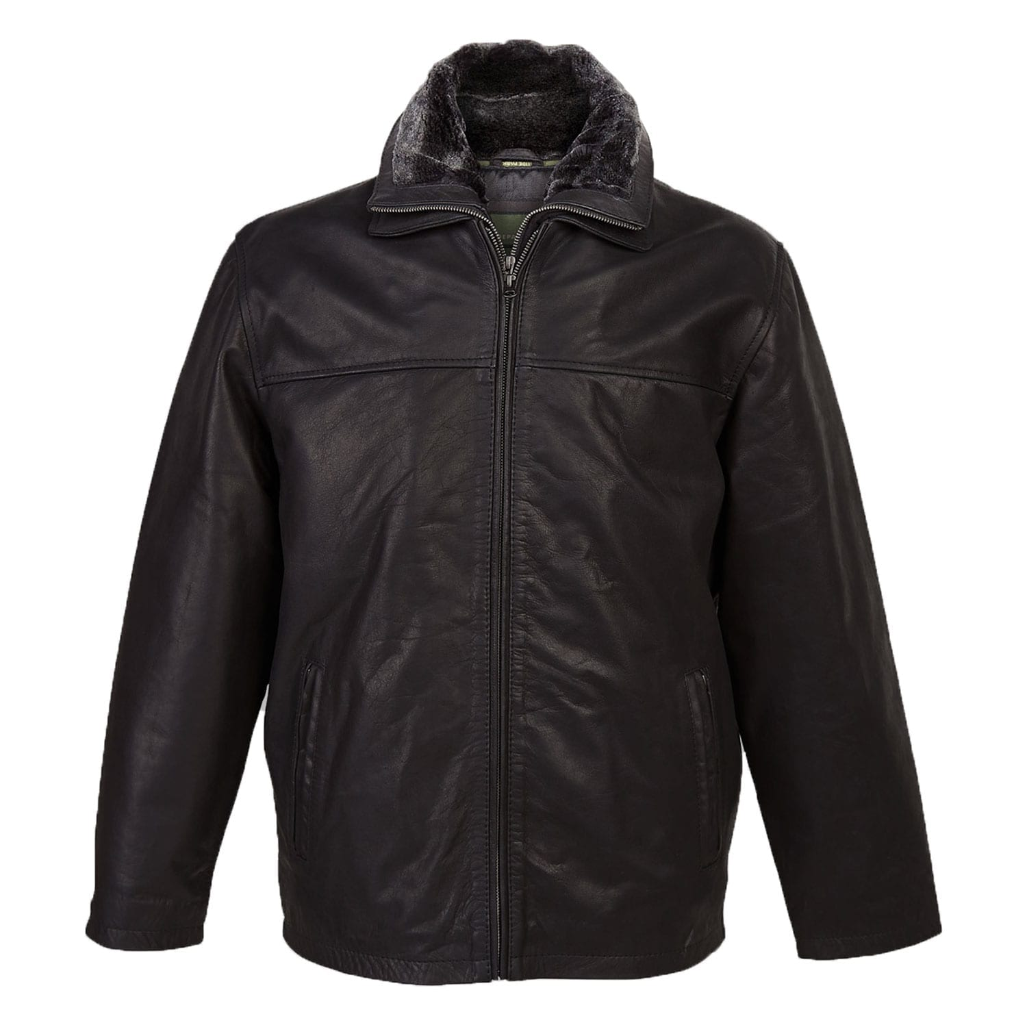 Mens Leather Jacket Bill Black