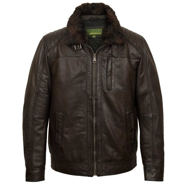 Men's brown leather jacket Danny