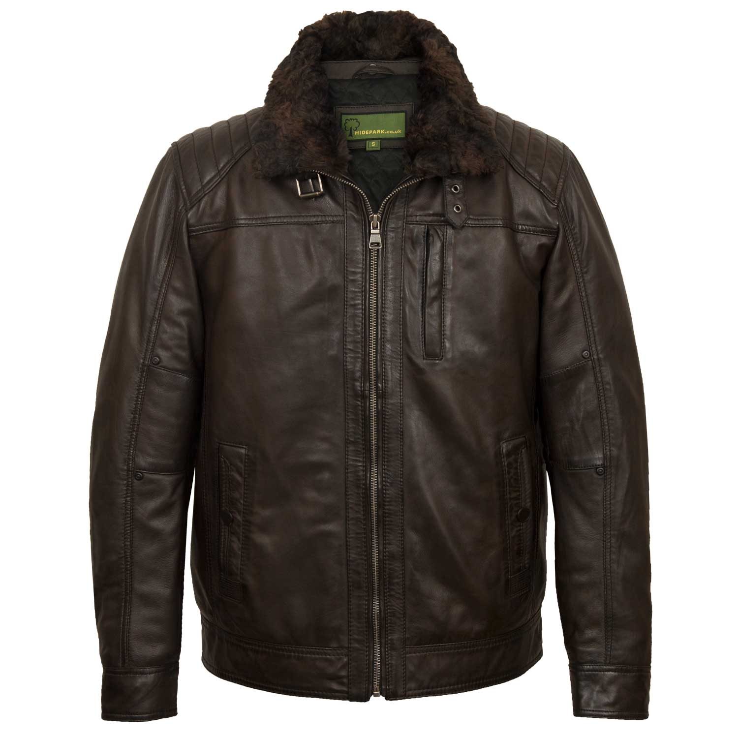 Mens brown leather jacket Danny