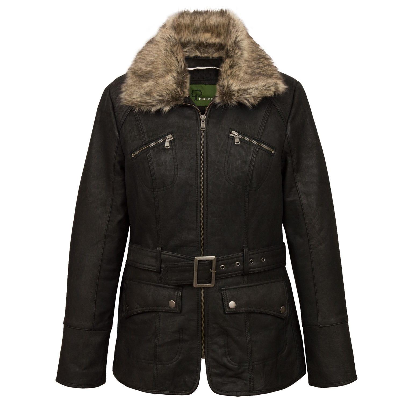Womens Black Leather Jacket Laura