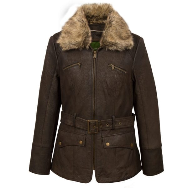 Women's Brown Leather Coat Laura