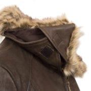 Womens Brown Leather coat hood detail Laura