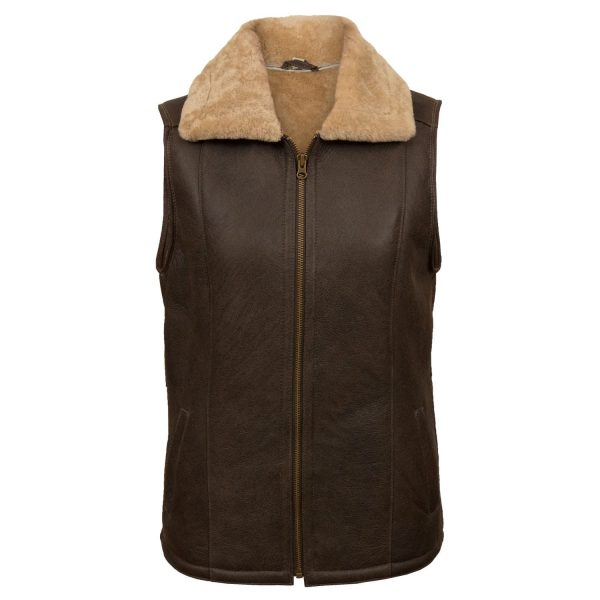 Women's Brown sheepskin gilet Gaynor