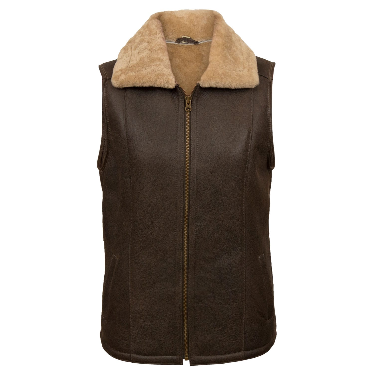 Womens Brown sheepskin gilet Gaynor