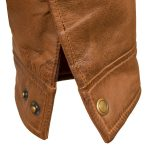 Mens Rust leather jacket cuff detail George